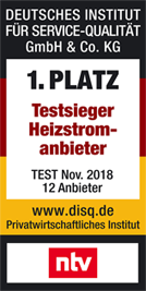 1. Platz Testsieger Heizstromanbieter 2018